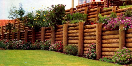 Timber Post Retaining Wall