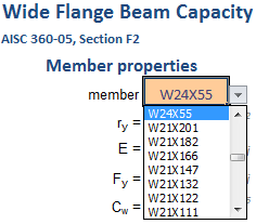 WF BEAM AISC360-05 SECTION F2