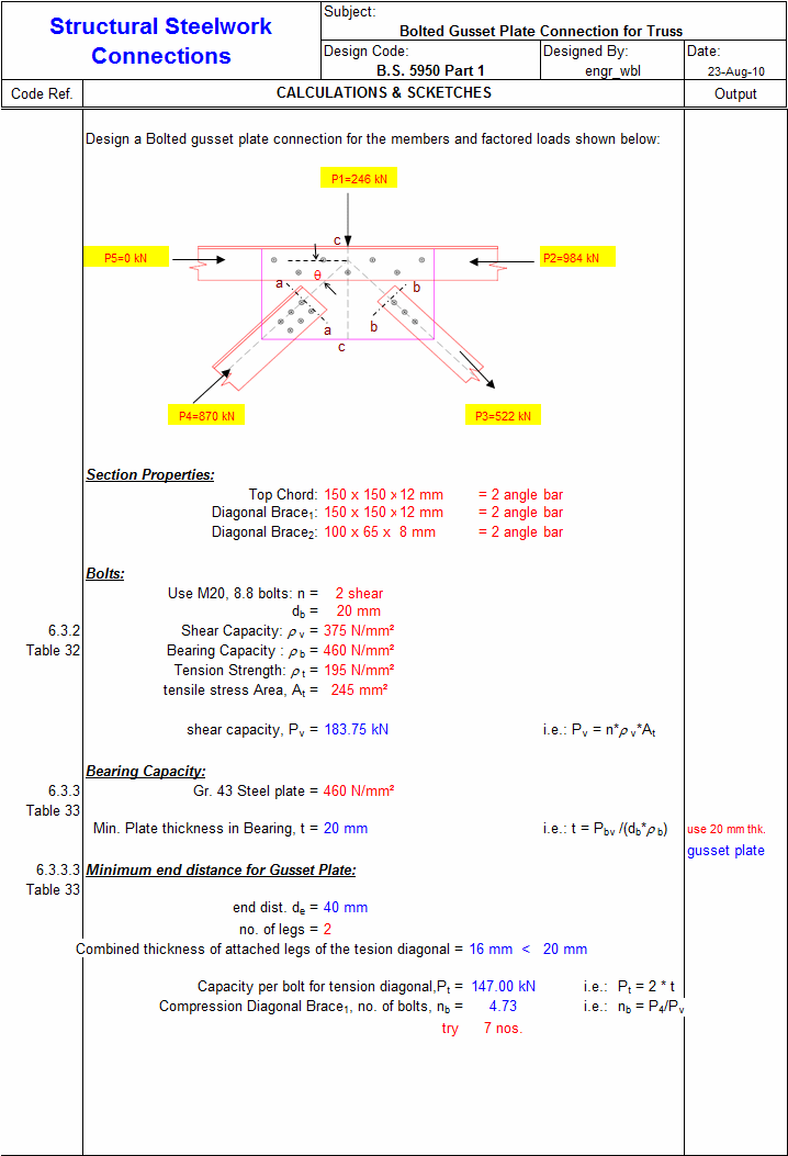 Gusset Plate Connection for Truss xls