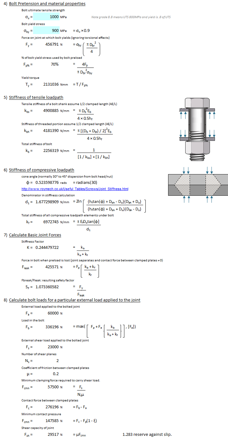 Detailed Bolted Joint Calculations xls