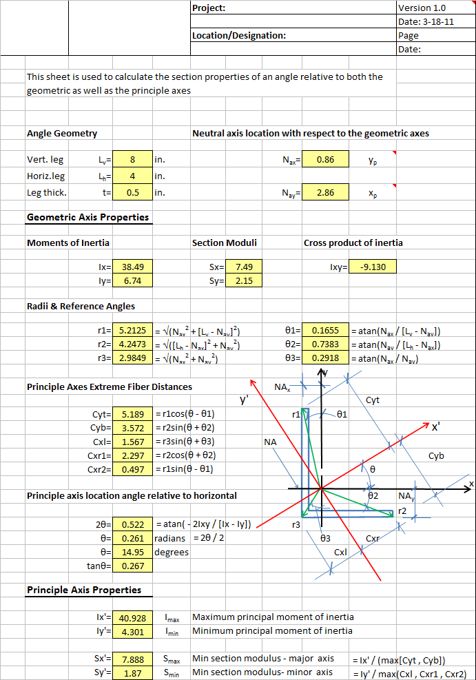 Angle Section Properties
