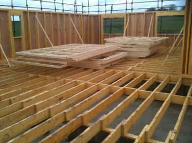 Flooring system using Solid timber floor joists