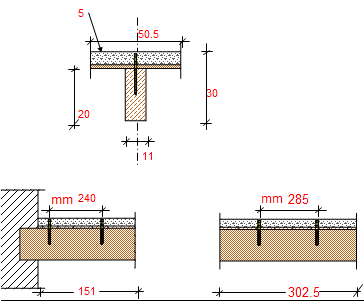 Calculation for mixed concrete-wood floor