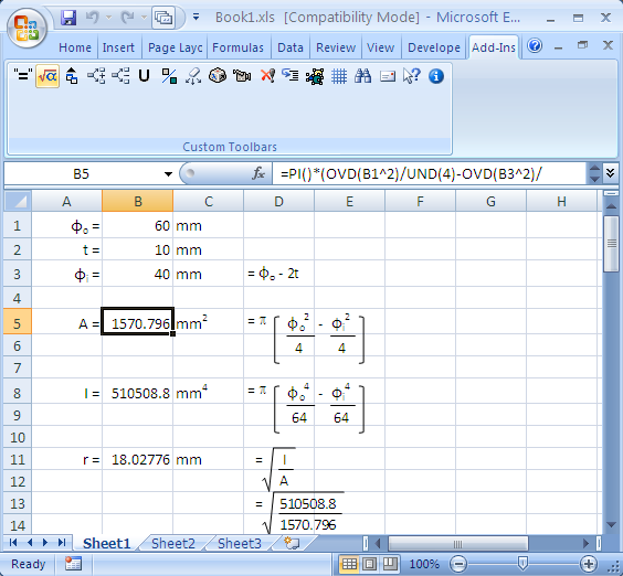 add-in Excel mathematical equations